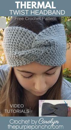 Thermal Twist Headband Free Crochet Pattern - The Purple Poncho Crochet Ear Warmer Pattern, Crochet Headband Pattern, Crochet Patterns, Crochet Twist, Crochet Baby, Knit Crochet, Double Crochet, Crochet Crafts, Easy Crochet Headbands