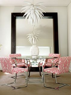 Florence Broadhurst - Imperial Brocade fabric in chic, sexy and sophisticated pink being used on these office / dining chairs (Florence Broadhurst fabrics, wallpapers, rugs and accessories all available from Mills and Kinsella 07921 I Love Mirrors, Florence Broadhurst, Dining Chairs, Dining Rooms, Wingback Chairs, Chair Fabric, Cool House Designs, Interior Inspiration, Pretty In Pink