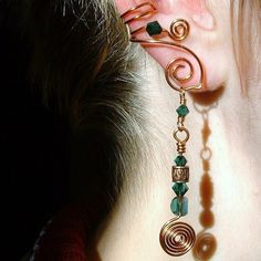 Celtic Spirals Copper Emerald Green Irish Ear Cuff. $18.00, via Etsy.
