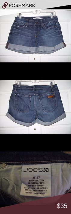 JOE'S JEANS Cuffed Sammy SHORTS *Vintage Wash* Fabulous pair of denim shorts by Joe's Jeans, size 27 inch. These are the Cuffed Sammy Shorts. 5-pocket styling. Cuffed. Vintage wash in a darker medium blue denim. Gently used condition. Joe's Jeans Shorts Jean Shorts
