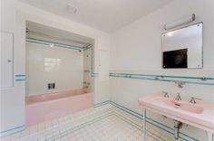 3329 Flamingo Dr, Miami Beach, FL 33140 | MLS #A10070486 - Zillow Pink Bathroom Tiles, Pink Bathrooms, Bathroom Vintage, Pink Tiles, Italian Villa, Perfect Pink, Types Of Houses, Miami Beach, Corner Bathtub