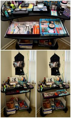desk used as vanity. I  temporarily turned my unused computer desk into a vanity don t have much makeup so the small is fitting used shoe box tops as drawers My handy husband an old new