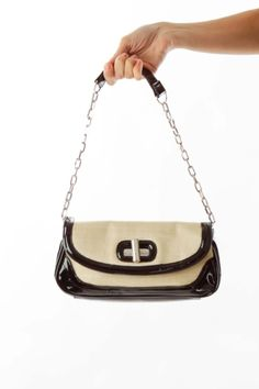 94b02338722 Timeless purses versatile for every occasion beige & black patent & woven  shoulder bag by White House Black Market. SilkRoll