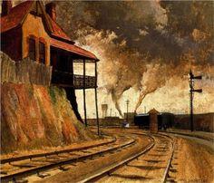 Keswick siding - Jeffrey Smart - 1945 ~Via S Bennett Cityscape, Australian Art, Smart Art, Painting, Seascape, Train Art, Industrial Art, Artwork Painting, Australian Painters