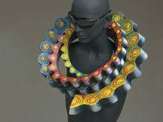 Marjorie Schick, Tribute to Professor Alma Eikerman, 1995, necklace, papier-mâché, paint, 464 x 502 x 114 mm, photo: Gary Pollmiller