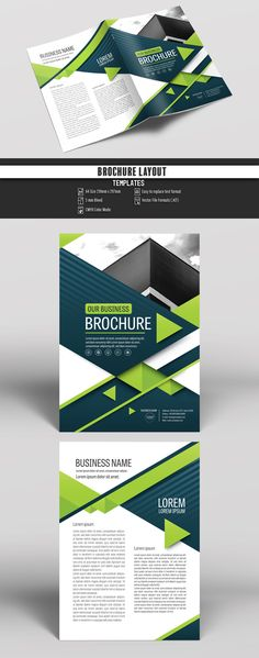 Brochure Cover Layout with Blue and Green Accents Buy this stock template and explore similar templates at Adobe Stock Page Layout Design, Book Layout, Booklet Design, Flyer Design, Company Profile Design, Brochure Template, Flyer Template, Brochure Design Inspiration, Brochure Cover