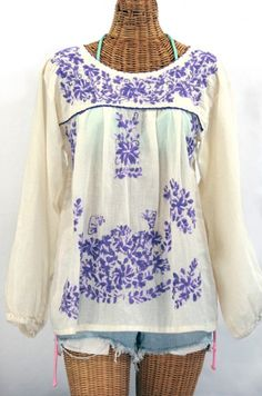 """My newest favorite!  The """"La Mariposa Larga"""" Embroidered Mexican Style Peasant Top in Off-White with Purple Variegated Embroidery.  #bohochic"""