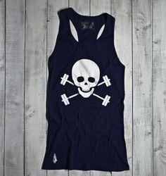 Gymdoll Skull & Barbells Tank - now in Navy/White