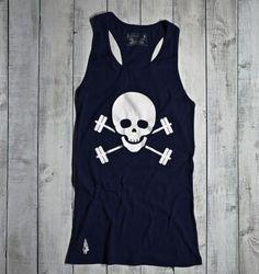 Gymdoll Skull & Barbells Tank - now in Navy/White