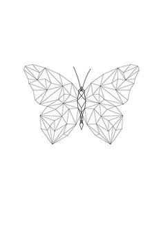 Elegante cuadro con mariposa en formas geométricas