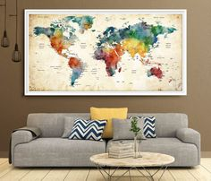World Map Push Pin Large world map poster living by FineArtCenter