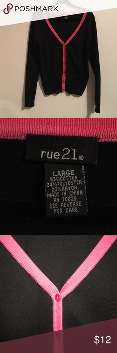 Black cardigan with hot pink trim Rue 21 black long sleeve cardigan sweater with hot pink trim. Super stylish worn only twice Rue 21 Sweaters Cardigans