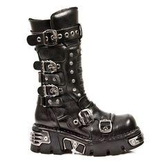 Botte noire en cuir new rock Metallic Doc Martens Stiefel, Doc Martens Boots, High Heel Boots, Shoe Boots, New Rock Boots, Goth Boots, Gothic Shoes, Unique Shoes, Kinds Of Shoes