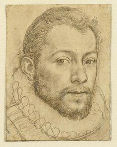 Hendrick Goltzius (1558 - 1617). Self-portrait C1585. Teyler's Museum, Haarlem, Netherlands.