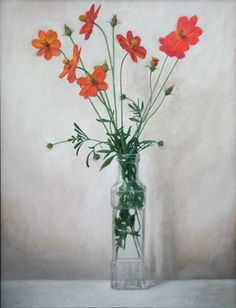 """Sunny Red Cosmos  18 x 24""""  oil on canvas  sold"""