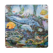 Aquatic life puzzle coaster