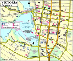 Map of Victoria Downtown, Victoria Inner Harbour, James Bay BC, Victoria, British Columbia