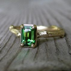 Tourmaline Emerald Cut Twig Ring in Gold, SALE, size 4.75