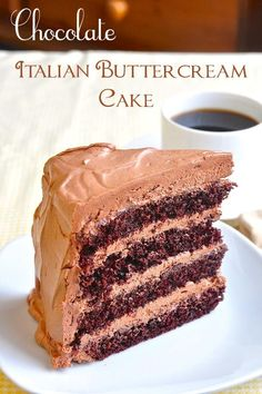 Chocolate Cake with Chocolate Buttercream Frosting - The easiest & best chocolate scratch cake ever gets layered and covered in melt-in-your-mouth, luscious Italian chocolate buttercream frosting. Outstanding!