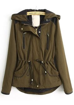 Army Green Plain Drawstring Cotton Blend Padded Coat