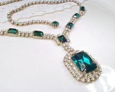 Art Deco Emerald & Clear Rhinestone Bridal Necklace, 1920s Silver Green Crystal Statement Necklace, Vintage Gatsby Wedding Flapper Jewelry Art Deco Emerald & Clear Rhinestone Bridal by AmoreTreasure