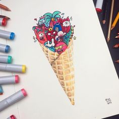 """1,883 Likes, 6 Comments - Undiscovered Artists Rescued (@artists__rescue) on Instagram: """"Doodle Ice Cream by @vexx_art _ _ Tag #artists_rescue for a possible feature _ _ Shared by…"""""""