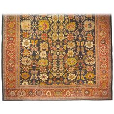 Antique Persian Sultanabad Carpet, Mansion Size with Jewel Tones, circa 1890 | From a unique collection of antique and modern persian rugs at https://www.1stdibs.com/furniture/rugs-carpets/persian-rugs/