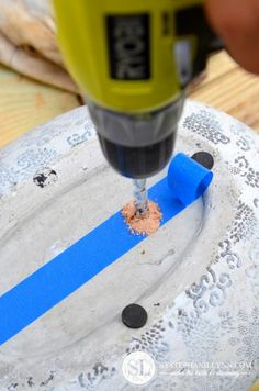 Learn how to drill holes in ceramic and terra cotta pots... link for the How-to:    http://www.bystephanielynn.com/2013/06/drill-drainage-holes.html