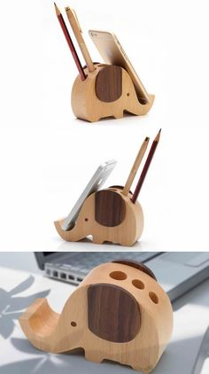 Wooden Elephant Shaped Pen Holder Mobile Display Stand
