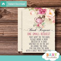 Baby Shower Tea Party Instant Download Elegant Vintage Floral Diaper Raffle Card A Baby is Brewing