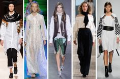 From left to right: Junya Watanabe, Elie Saab, Louis Vuitton, Christophe Lemaire, and Andrew Gn