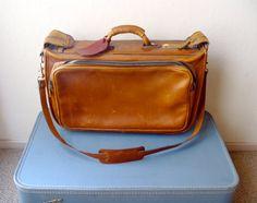 Vintage Leather Bag / Luggage / Weekend Bag by OldSchoolSwank