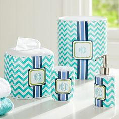 Preppy Bath Accessories #pbteen only tissue box and trash can