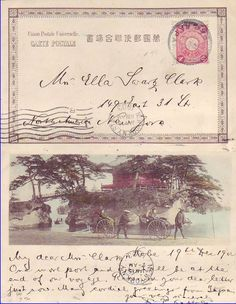 antique letter, with illustrations and stamps