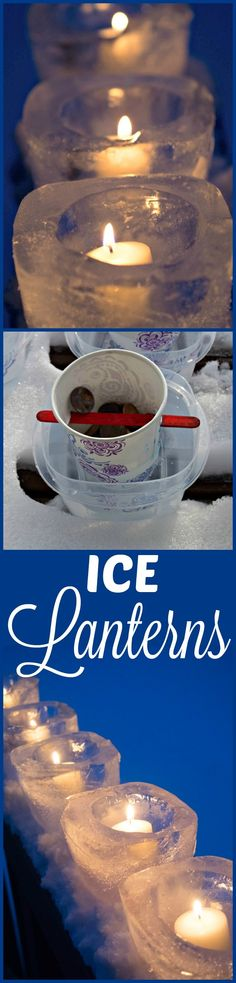 Easy to make Ice Lanterns - create a candle holder out of ice for a sparkling winter ice candle display. Perfect for a front porch, lining a driveway or a winter wedding. (How To Make Christmas Centerpieces) Cheap Diy Headboard, Diy Headboards, Wein Parties, Diy Wood Wall, Do It Yourself Wedding, Diy Centerpieces, Winter Fun, Homemade Gifts, Diy Wedding