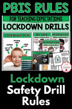 This lockdown drill rules and expectations resource is full of posters and materials to accompany the teaching of your school's PBIS rules. I like to use these materials from the very first day of school to teach my students the right way to follow our lockdown drill safety procedure. From moving out of sight, to staying calm, these materials are sure to teach your students how to be safe during a lockdown drill! Classroom Expectations, Safety Rules, Positive Behavior, Moving Out, First Day Of School, Classroom Management, Drill, No Response, Students