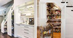 Votre escalier donne sur la cuisine? Profitez de ce coin pour aménager un garde-manger. #escaliers #escaliersinterieur #rangement #décomaison #maisondecor #cuisine