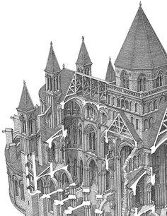 a detail of the cross-section of the church of Caen