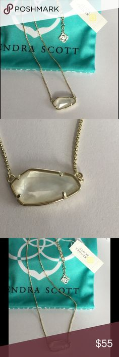 """Kendra Scott Cami Pendant Necklace Kendra Scott Ivory Mother of Pearl  CAMI Necklace.  Over Brass • Size: 0.48""""L x 0.88""""W pendant, 16"""" chain with 2"""" extender • Material: ivory mother-of-pearl* Kendra Scott Jewelry Necklaces"""