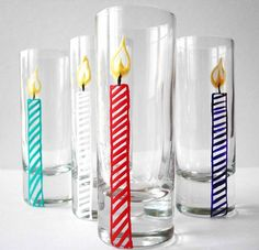 Happy Birthday Candle Shot Glasses--Set of 4 by Mary Elizabeth Arts