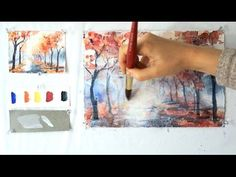 How to Paint A Tree with Watercolor. Watch step by step drawing…