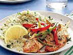 Tilapia with Bell Peppers and Parsley-Spiked Couscous