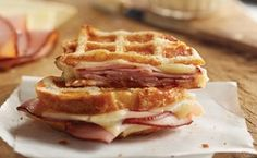 Waffled Ham and Cheese Melt with Maple Butter   This is wonderful! Don't skip the maple butter please.