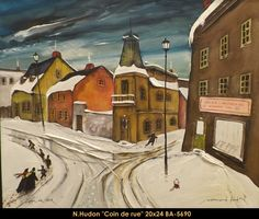 Original mixed media painting by Normand Hudon New BOOK available November 9 2014 #hudon #art #caricaturist #streetcorner #winterscene #mixedmedia #canadianartist #quebecartist #originalpainting #balcondart #multiartltee