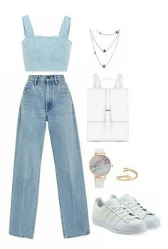Retro Outfits, Cute Casual Outfits, Outfits For Teens, Stylish Outfits, Kpop Fashion Outfits, Girls Fashion Clothes, Mode Kpop, Mode Chic, Looks Style