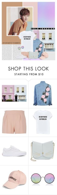 """Say What: Statement T-Shirts"" by namiii-574 ❤ liked on Polyvore featuring Oris, WALL, Moschino, Vans, Ted Baker, Amici Accessories, Sunday Somewhere, infinite and statementtshirt"