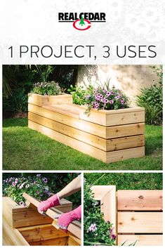 Hidden Outdoor Storage Bench and Planter Made from Durable Cedar