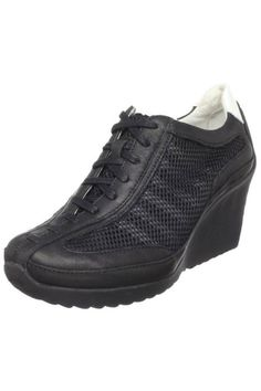 Drillon Ladies' Wedge Sneaker in black by Tsubo $145 - $60 at BeyondTheRack. Lace up closure. Sheet EVA and sheet latex foam and sheet latex foam forefoot pod Non marking rubber outsole. Anti microbial pig skin lining. Insole board and internal nylon riser. Upper Leather, Sole Rubber.