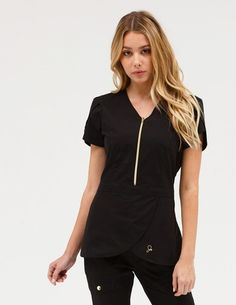 The Tulip Top in Black is a contemporary addition to women& medical scrub outfits. Shop Jaanuu for scrubs, lab coats and other medical apparel. Lab Coats For Men, Stylish Scrubs, Skinny Cargo Pants, Cute Scrubs, Scrubs Outfit, Black Scrubs, Scrub Jackets, Womens Scrubs, Medical Scrubs