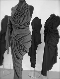 Fabric Manipulation folds  gathering for beautiful shapes and texture; draping techniques // Kei Kagami #fashion #textiles